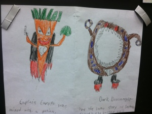 Many of the students created puppets based on foods.