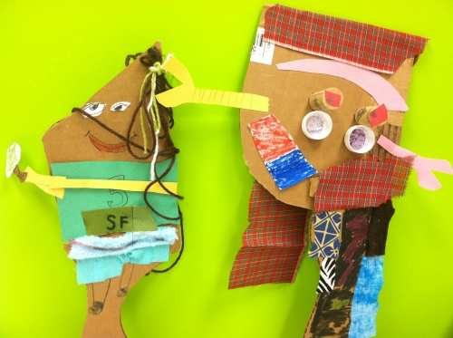 Students who were not in the core group still experienced a puppet making session.  Their resulting works appeared in the final pageant.