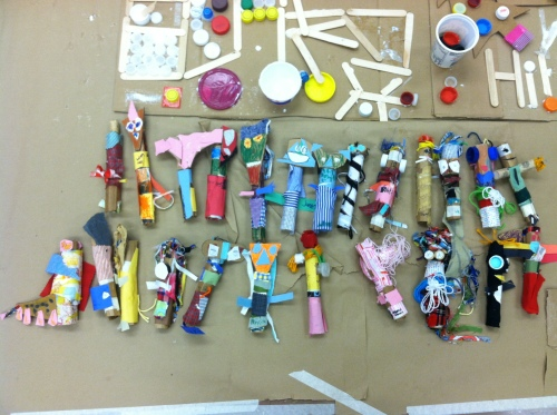 Some of the classrooms made finger puppets for the pageant.