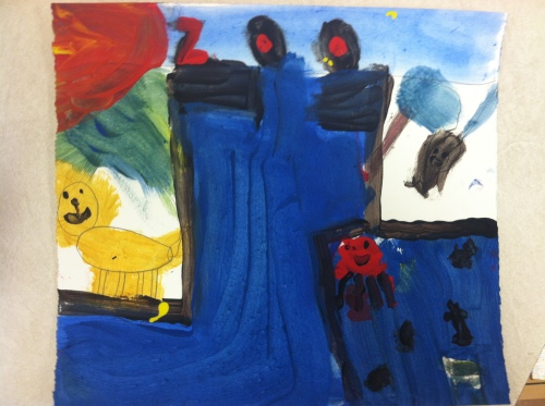 A painted sketch for the puppet pageant scene.