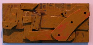 RESTLESS, 2013, wood pieces on wood panel, with acrylic paint.