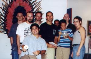 Black Sheep Puppet Festival team, 1999 (Liz Hammond, Rick Bach, Suzanne Pace, John Latell, Tim Kaulen, Thad Bobula, Tom Sarver, George Davis, Rob Long, Michael Mcfadden.