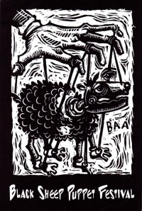 Card for 1st Annual Black Sheep Puppet Festival with logo by Rick Bach.