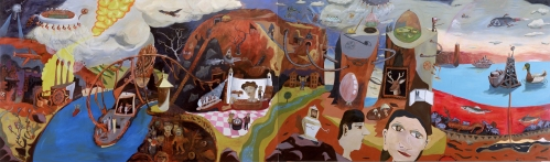 """Pittsburgh in the Year 2050, oil on canvas (2-panel), 288"""" x 7"""", 2006"""