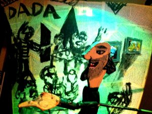Tristan Tzara delivering his Dada Manifesto at the Cabaret Voltaire.