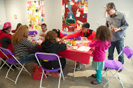 On May 17th and 18th, set up a collage-making area for gallery guests as part of the International Children's Festival.  Image by Rebecca Lessner.