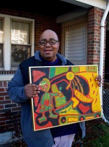 Pittsburgh visionary artist Steve Smith with his painting, Garden Girl.