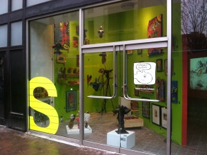 The Sideways Museum begins as a window installation at 812 Liberty Avenue, Pittsburgh.