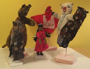Handcrafted puppets made and used in performances by Joann Kielar.