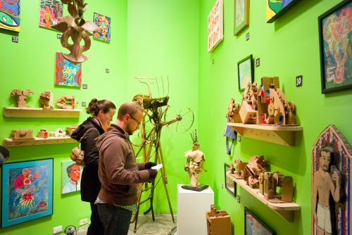 The Sideways museum included handmade puppets, cardboard gadgets, paintings, drawings, assemblage, fibers and ceramics works.