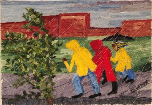 Outrunning the Rain, embroidery floss on cardboard, Dorothy Williams.