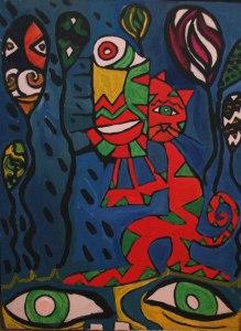 Kitty Storm, acrylic on canvas, Steve Smith.