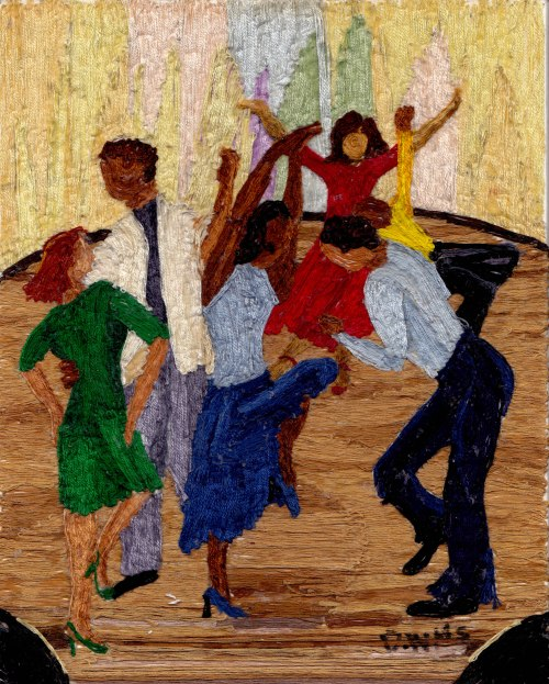 Dance Party, embroidery floss on cardboard by Dorothy Williams.