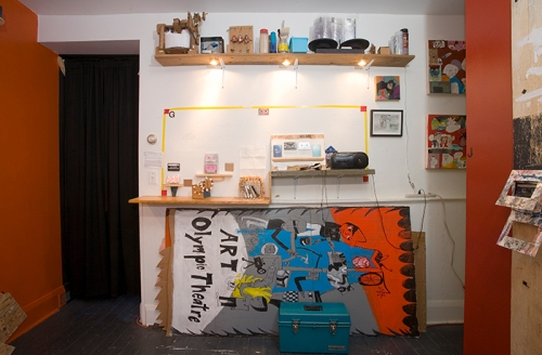 Center workspace during the exhibition, MIXTAPE.
