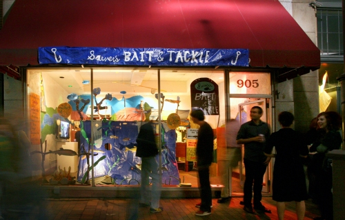 Sarver's Bait & Tackle, a storefront installation at the 2009 Three Rivers Arts Festival was the culmination of The Fishing Report. Photo by L. Rippel.