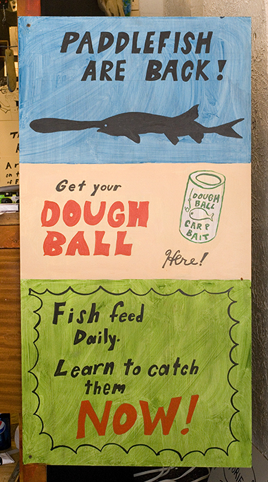 Signs in Bait & Tackle.