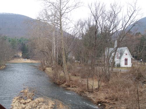A church along Little Pine Creek, Waterville, PA.