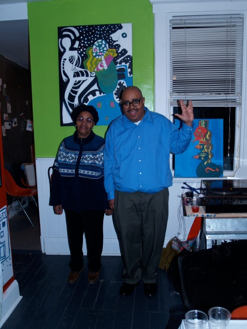 Pittsburgh visionary artist Steve Smith (pictured with his mother) had a solo exhibition of paintings at the museum.