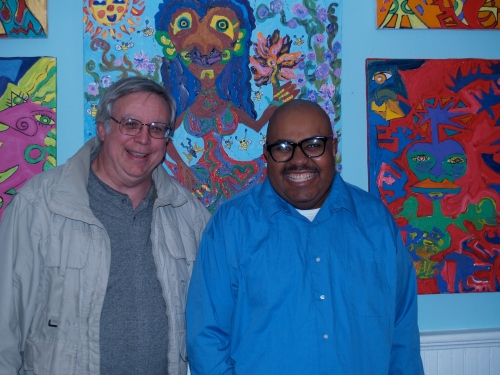 Steve Smith and a friend at his opening reception.