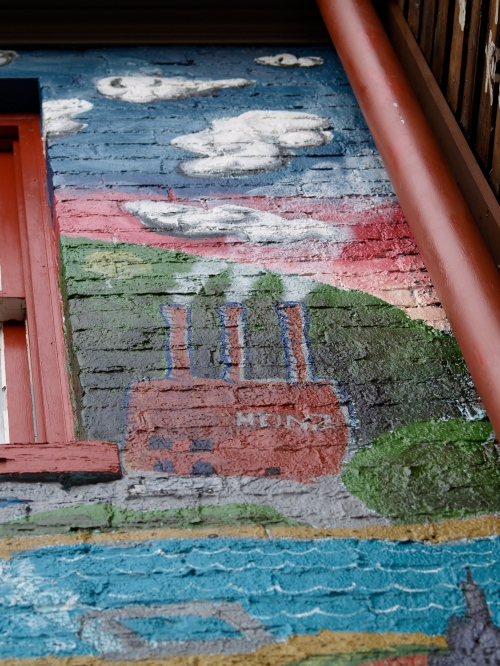 Mural detail of old Heinz factory along the Allegheny River.