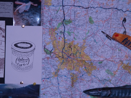 A map with the route for The Fishing Report documentary.  TS