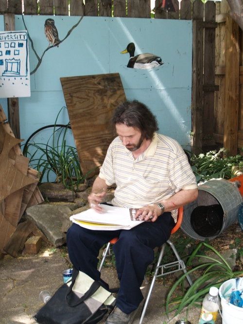 Artist visitor John Colaric spend the day sketching in the backyard.