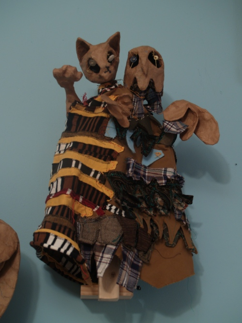 Puppet by Diana Vencius on display during puppet month.