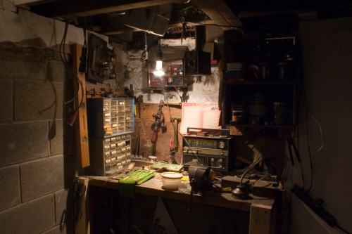 Grandfather's Workbench, a basement display.