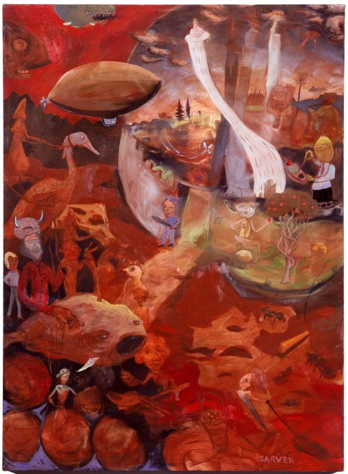 """Zeppelin, oil on canvas, 50"""" x 70"""", 2004.  After the fall of civilization, the elite thrive in climate-controlled bubble domes, while others scavenge through wastelands."""