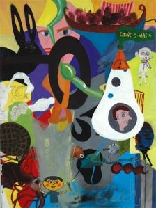 "Clone-O-Matic, acrylic on canvas, 30"" x 40"", 2003"