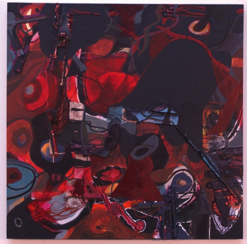 "untitled, mixed media on canvas, 84"" x 84"", 2010"
