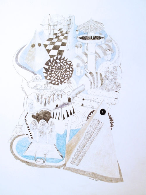 "Planet Axe-Iron, pencil on bristol, 14"" x 20"", 2014"