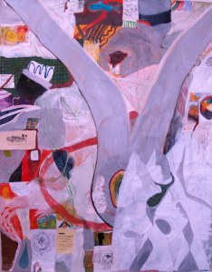 "Radioactive, mixed media on canvas, 40"" x 60"", 2014."