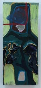 "Green Man, mixed media on panel, 6"" x 13"", 2009"