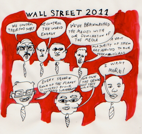 "Wall Street 2011, Ink and acrylic on paper, 10"" x 10"", 2011."