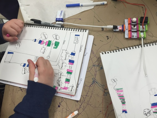 Students sketching circuit ideas using littleBits components.