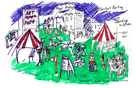 Sketch for the Art Olympic Fest, Fallow Grounds Residency at Neu Kirche Art Center.