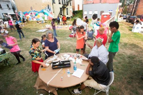Visitors taking part in craft activities.