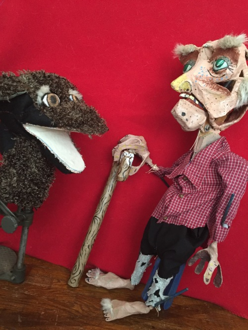 Rip Van Winkle and Cubby the dog puppets in progress.